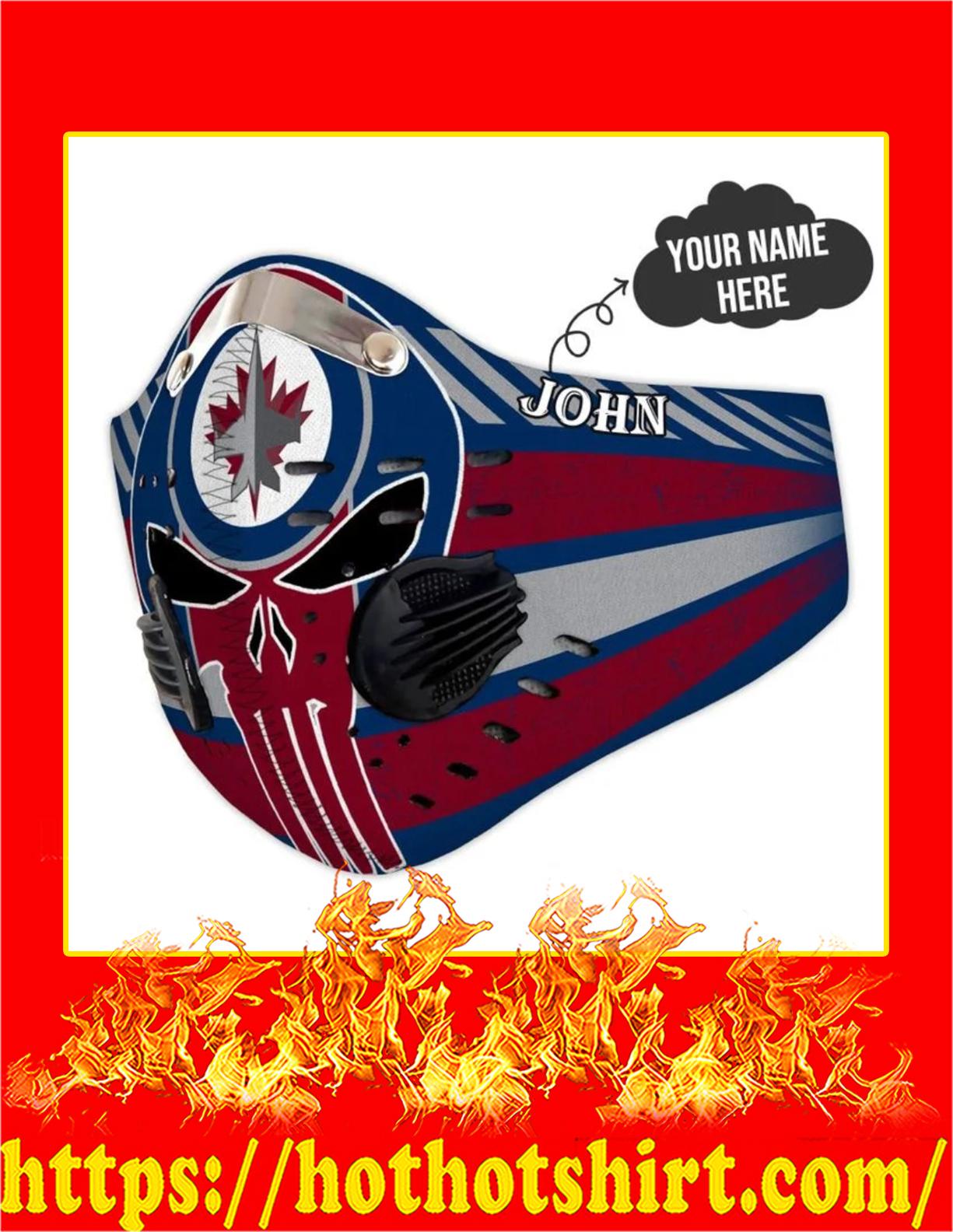 Winnipeg jets punisher skull personalized custom name filter face mask