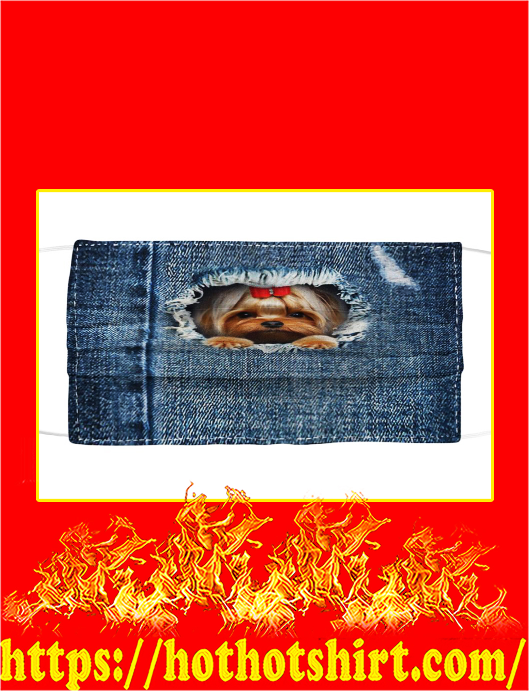 Yorkshire Terrier Blue In Jean Cloth Face Mask- pic 1