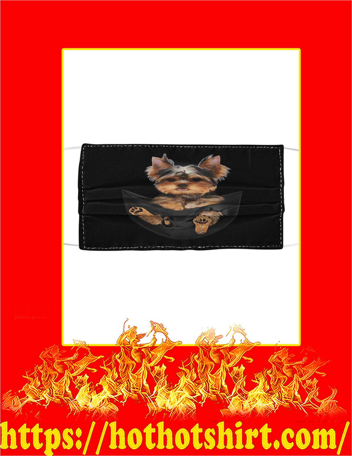 Yorkshire terrier in pocket cloth face mask - detail