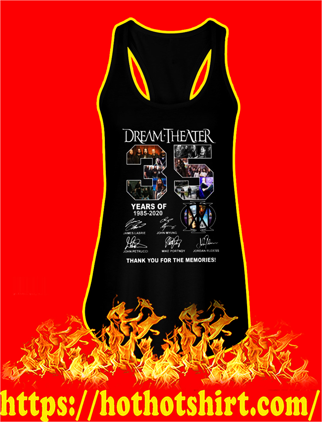 35 years of dream theater thank you for the memories tank top
