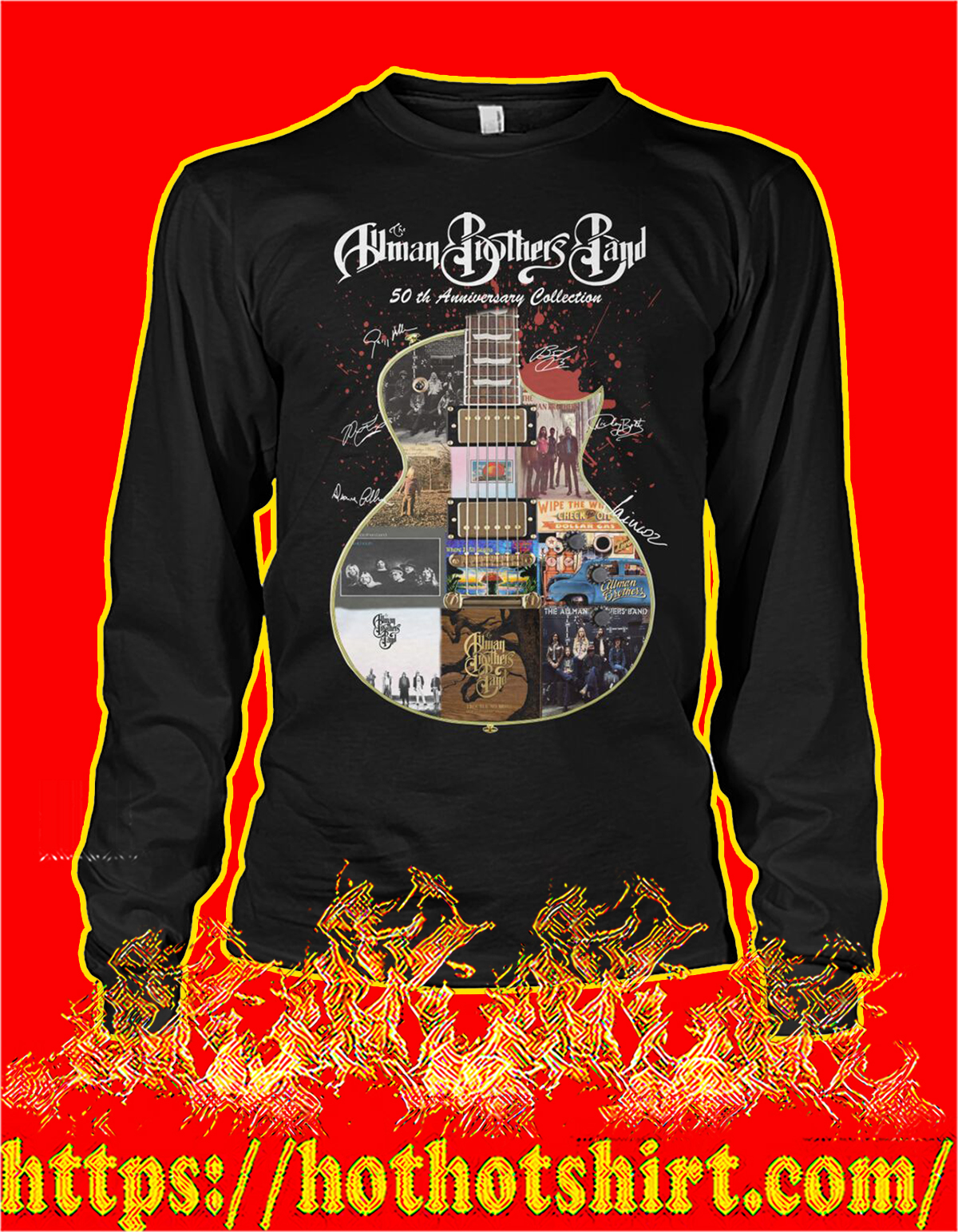 Allman brothers band 50th anniversary collection guitar signature long sleeve tee