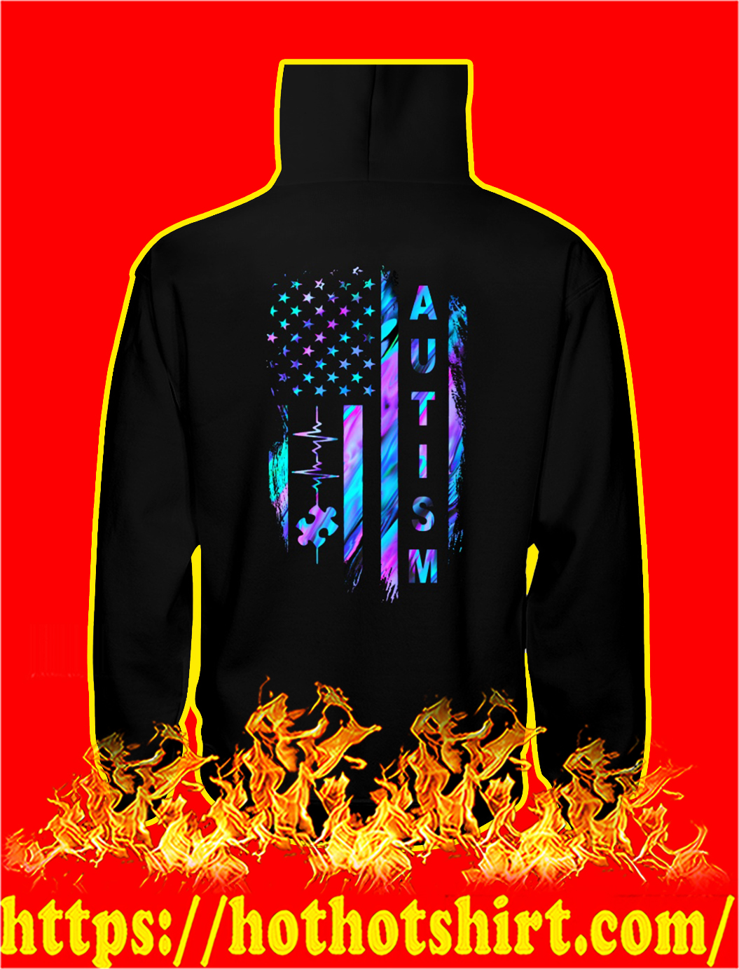 Autism awareness american flag hoodie