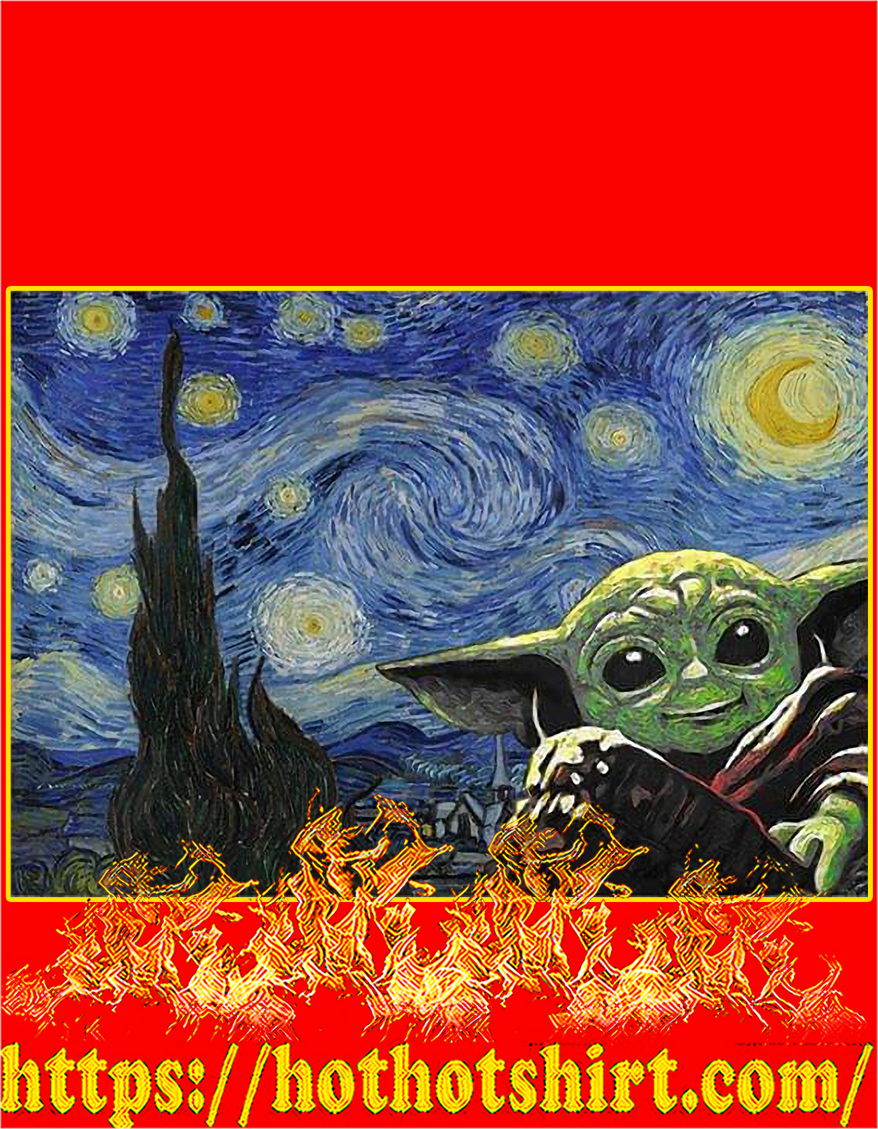 Baby yoda starry night poster - A3