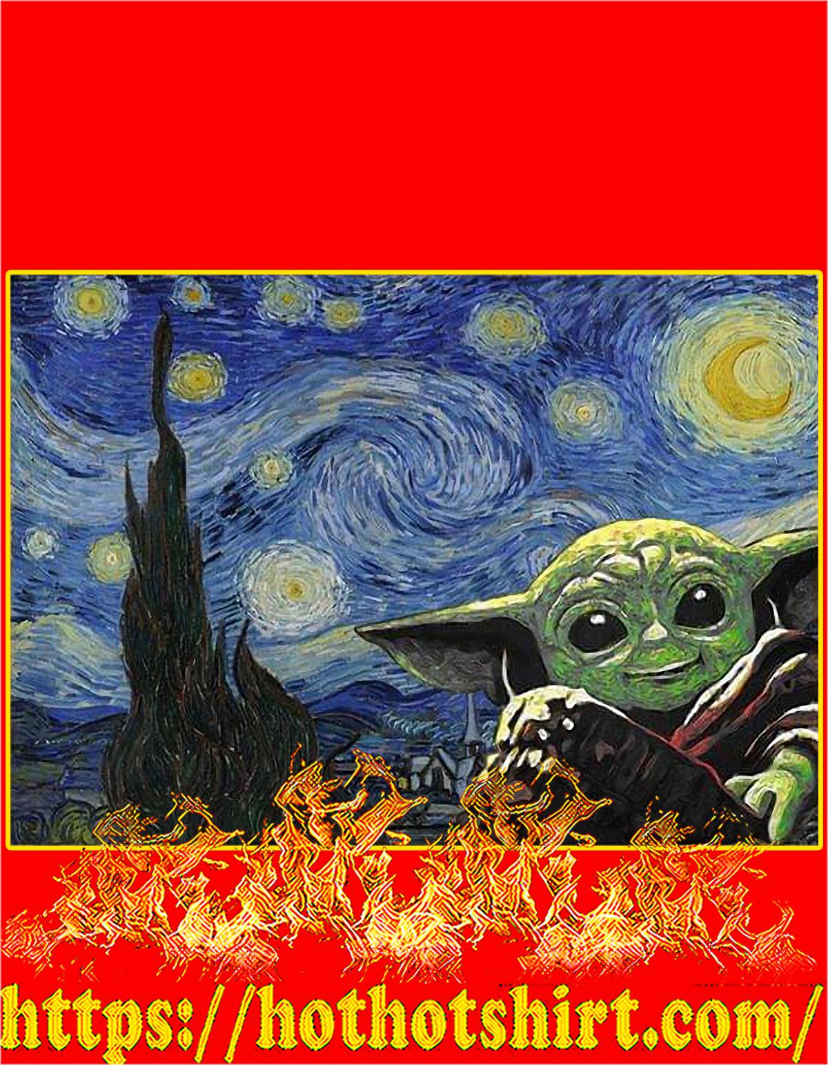 Baby yoda starry night poster