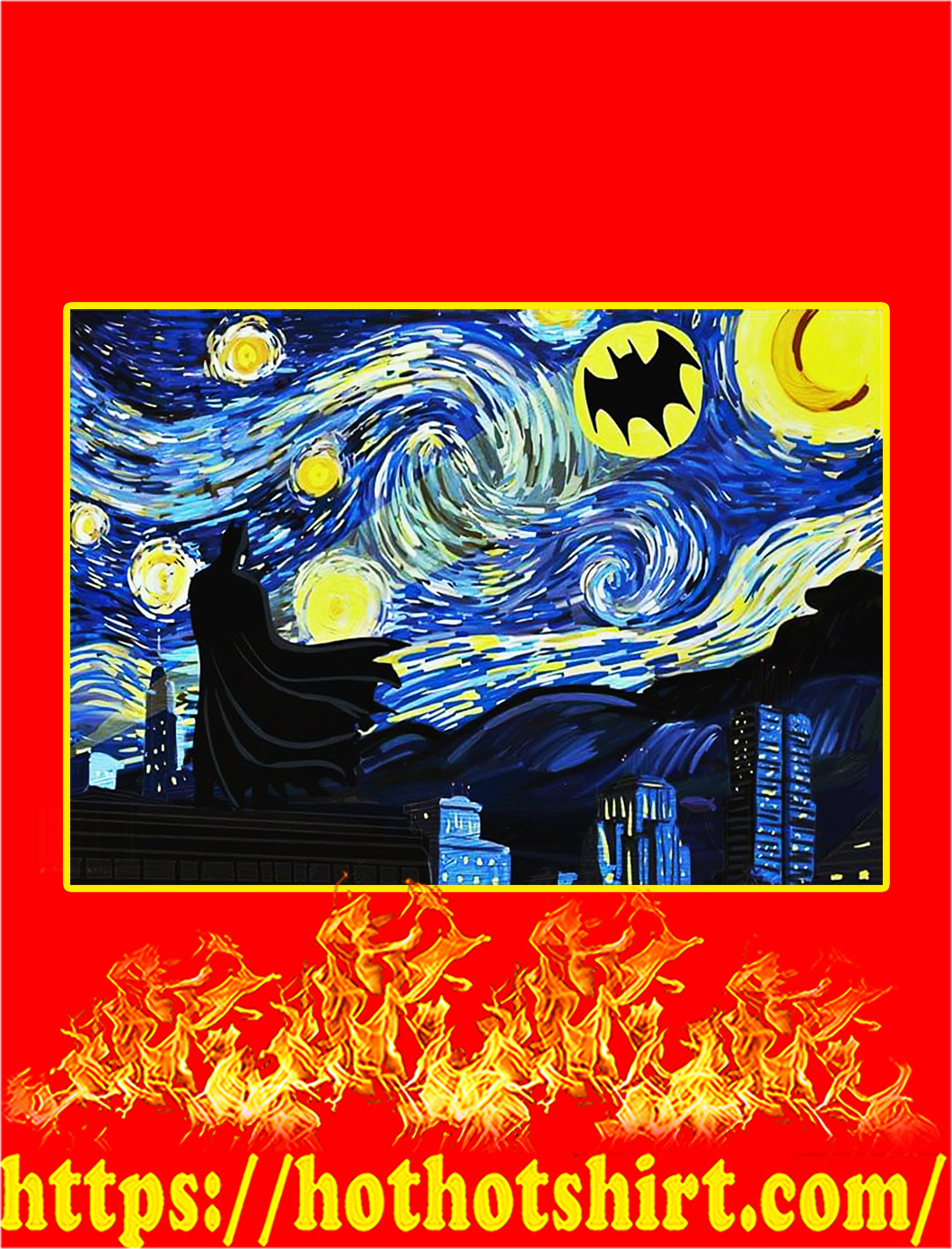 Batman starry night van gogh poster - A3