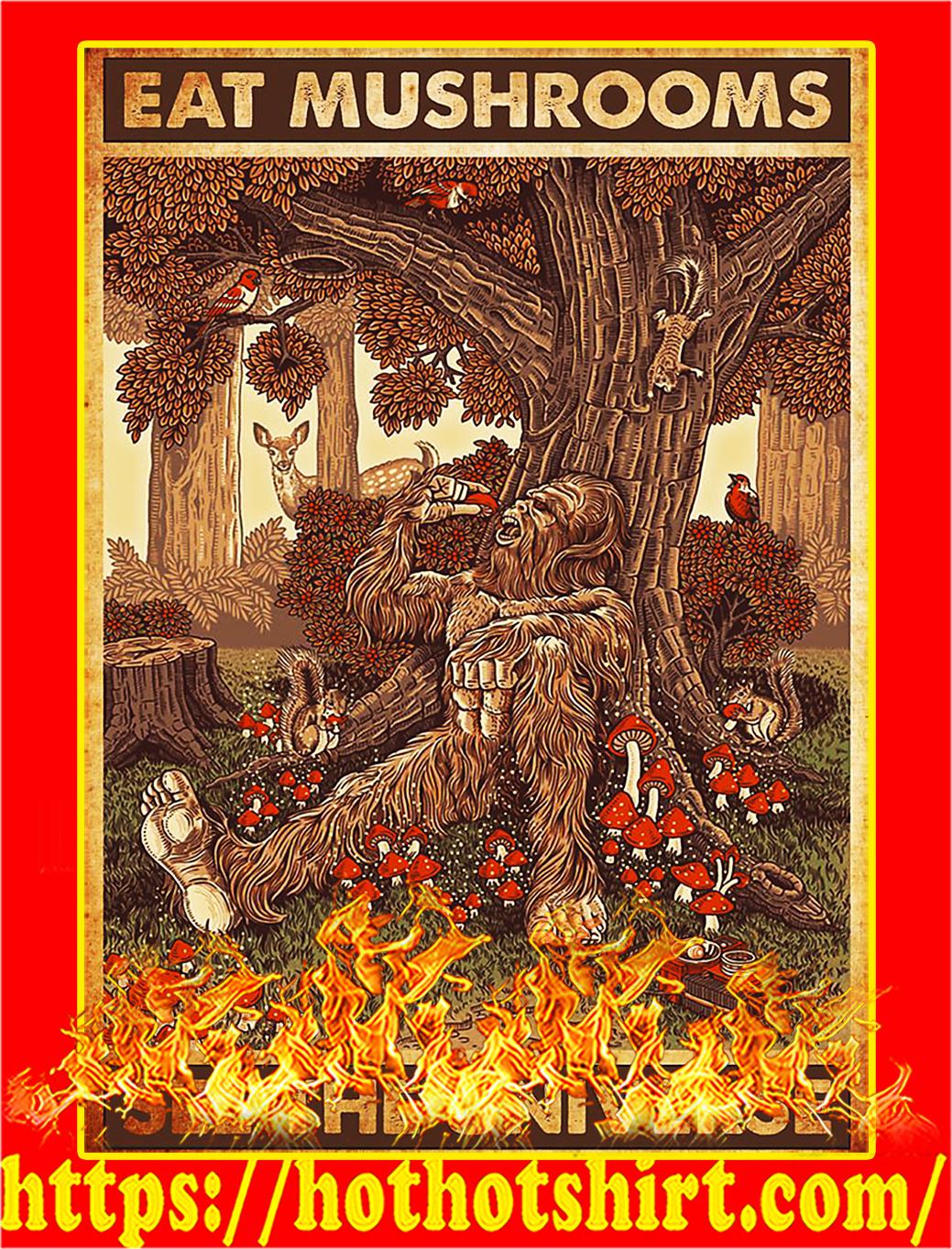 Bigfoot Eat mushrooms see the universe poster - A2