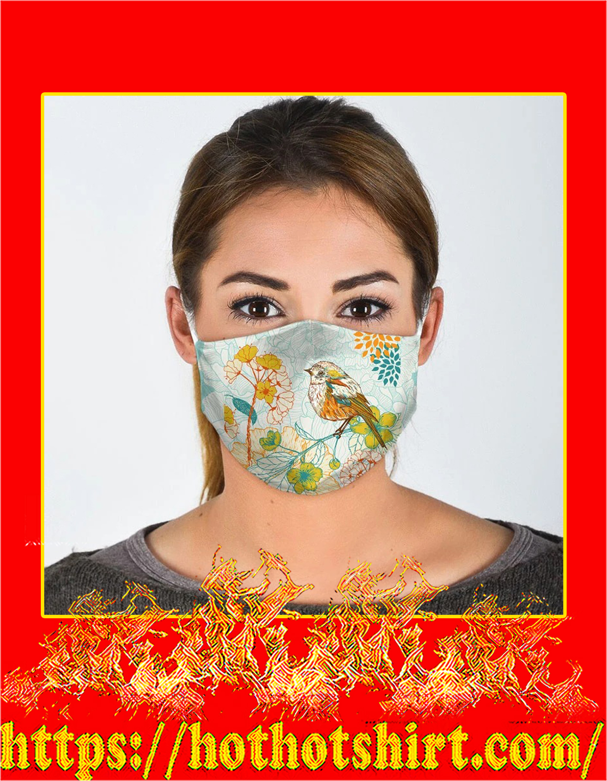 Bird flower all over prints face mask - detail