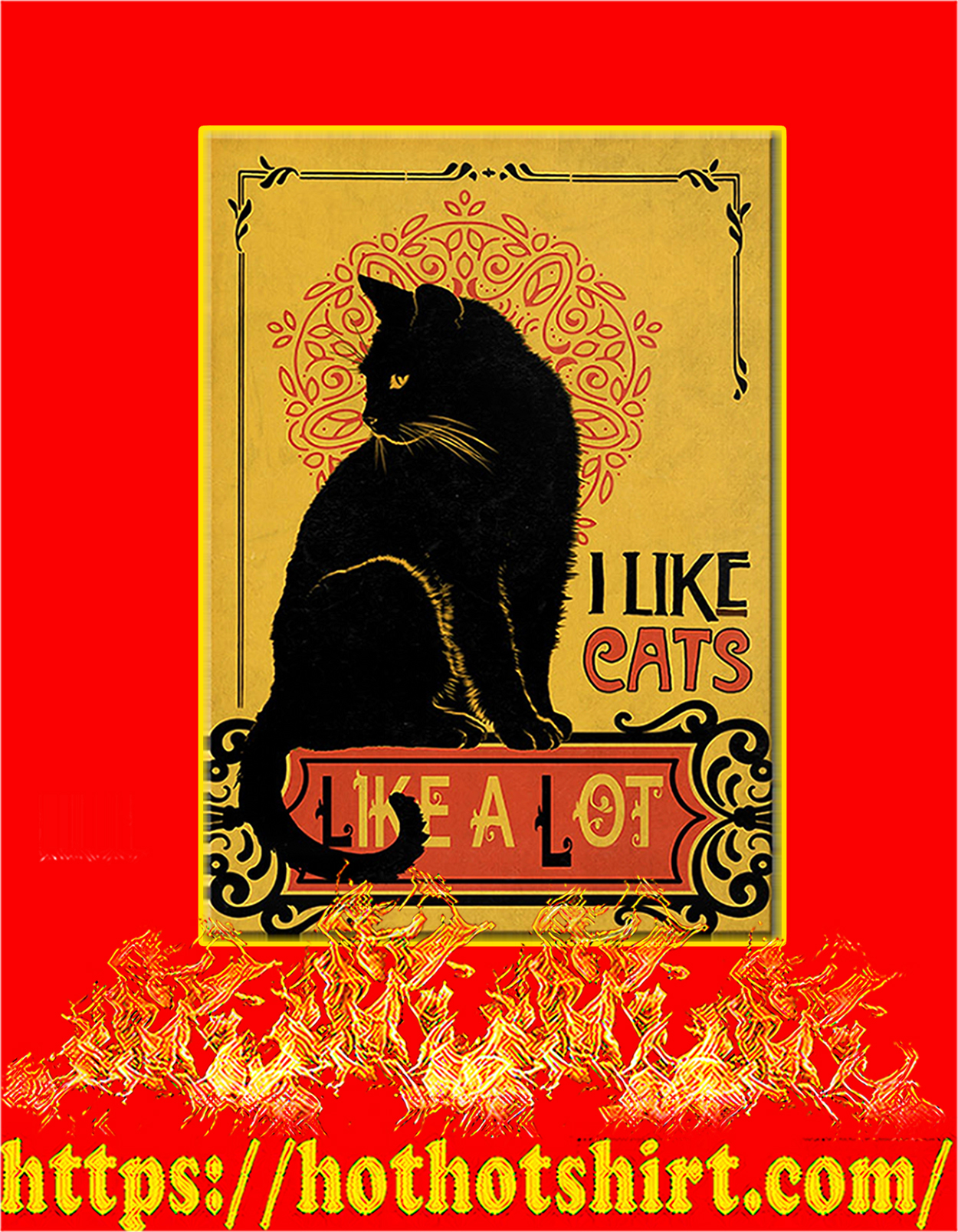 Black cat I like cats like a lot poster - A3
