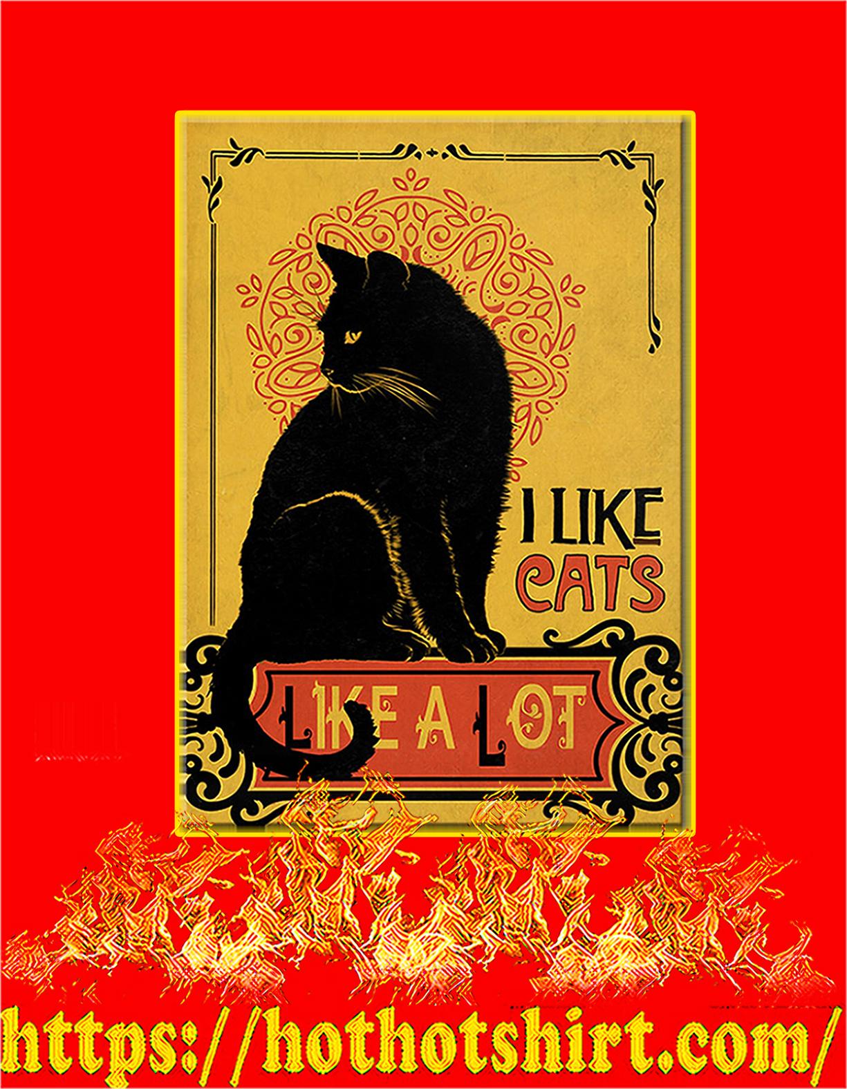 Black cat I like cats like a lot poster - A4