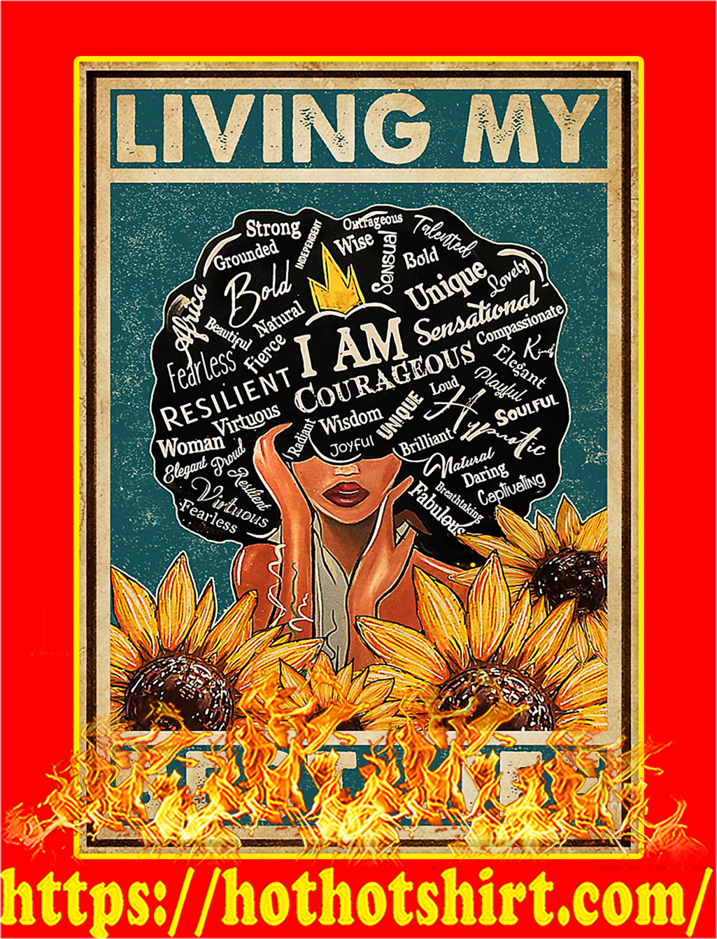 Black girl Living my best life poster - A3