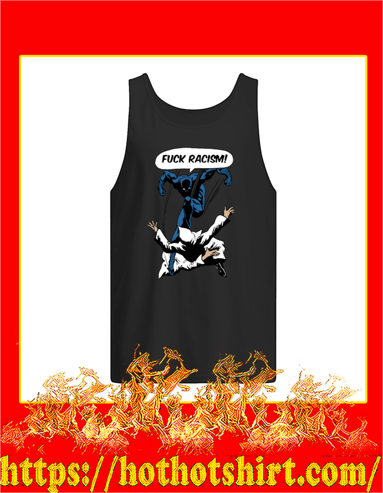 Black panther fuck racism tank top