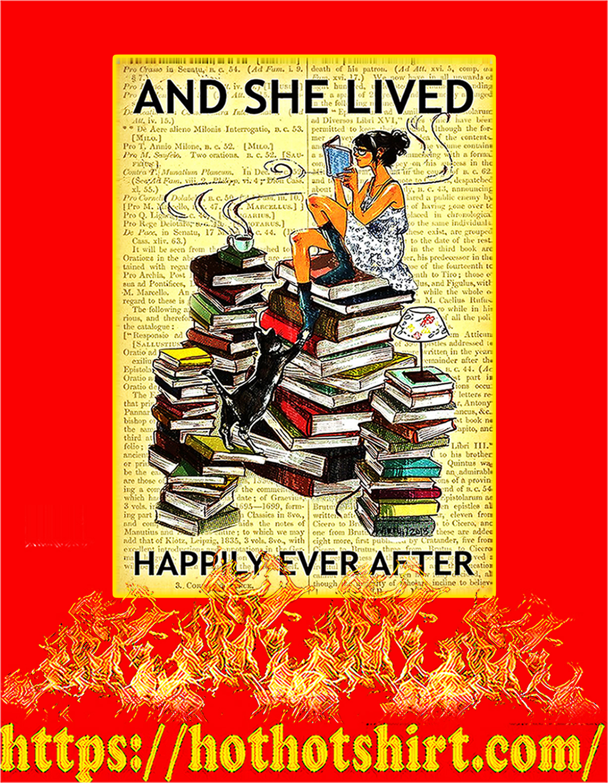 Book and cat and she lived happily ever after poster - A4