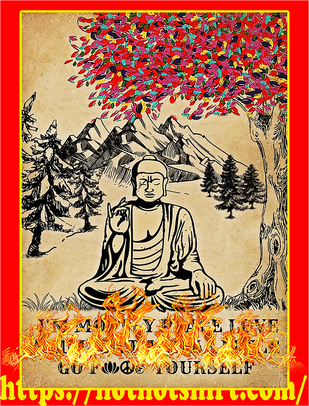 Buddha I'm mostly peace love and light poster - A3