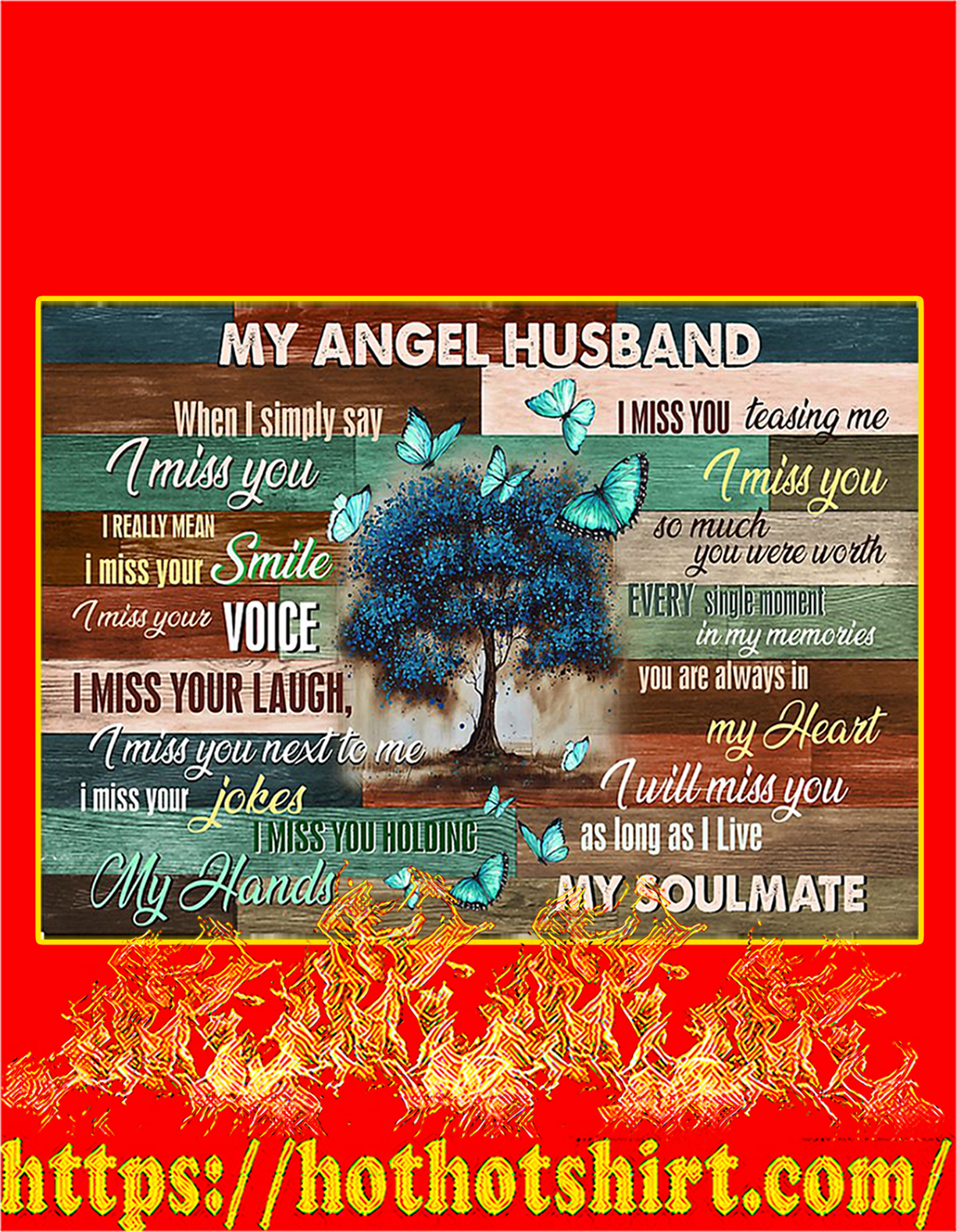 Butterfly my angel husband poster - A4