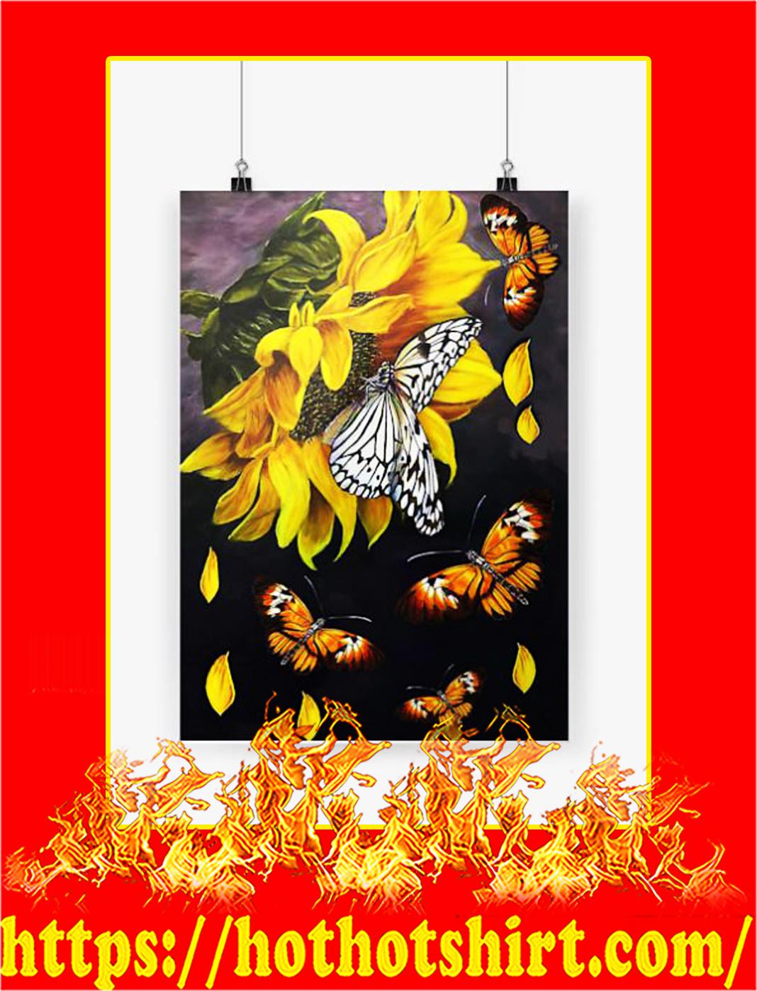 Butterfly sunflower poster - A2