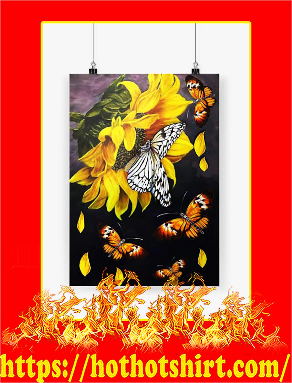 Butterfly sunflower poster - A3