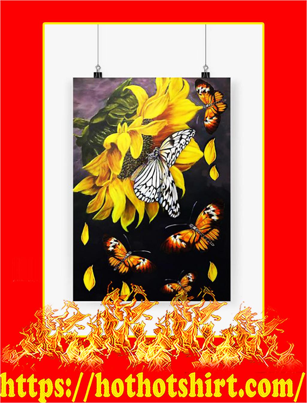 Butterfly sunflower poster - A4
