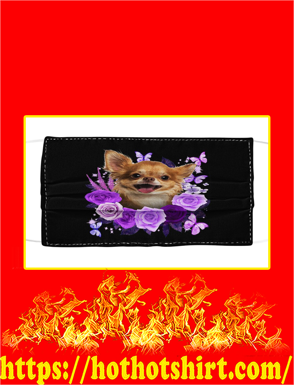 Chihuahua purple flower face mask- pic 1