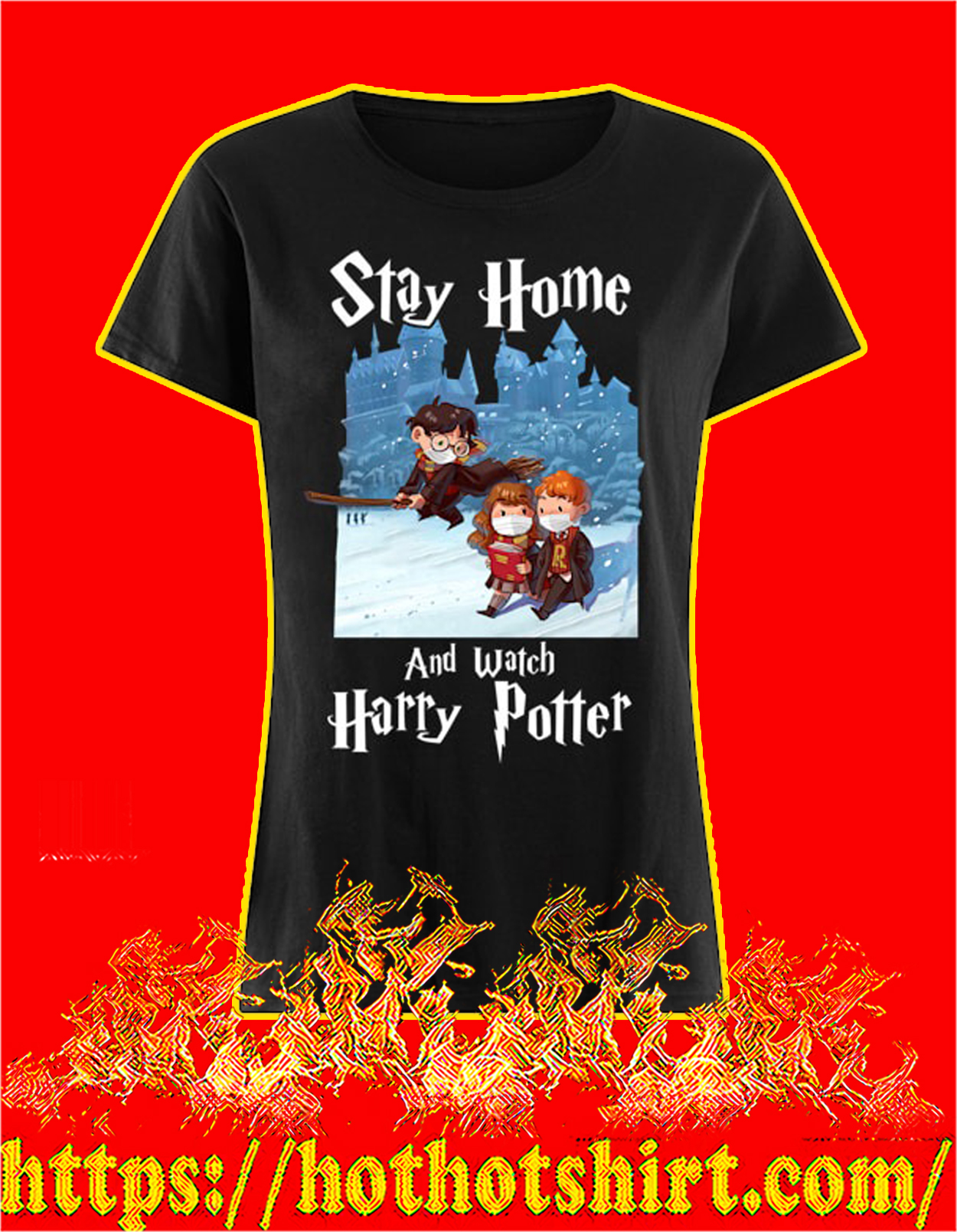 Covid 19 Stay home and watch harry potter women shirt