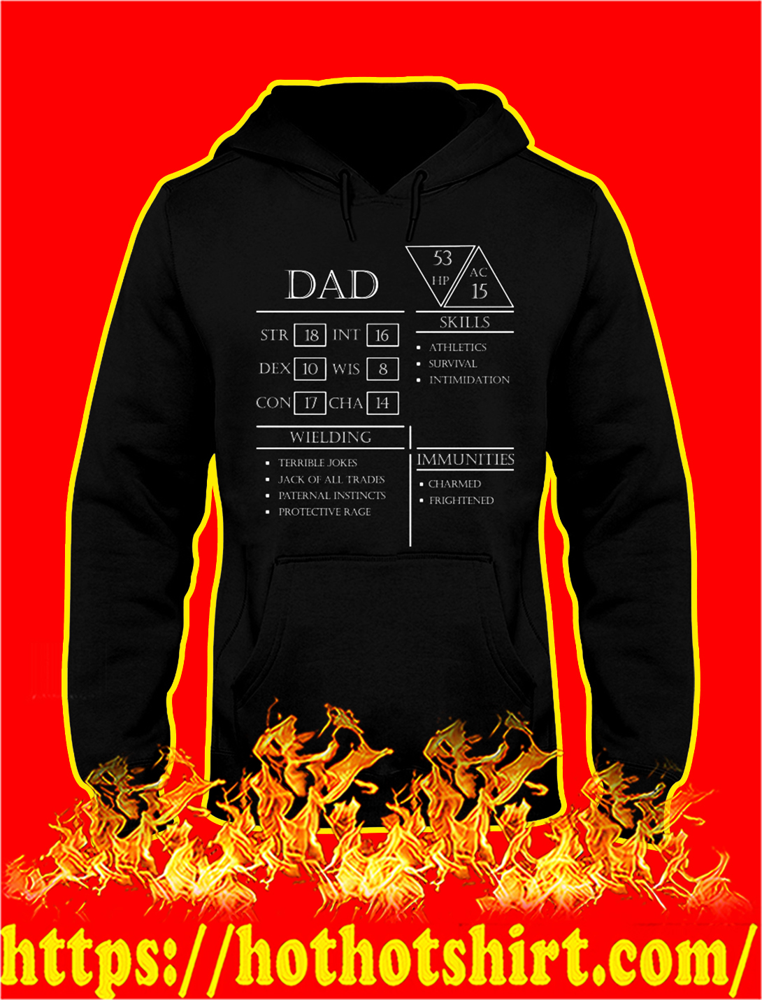 Dad character sheet dungeons and dragons hoodie