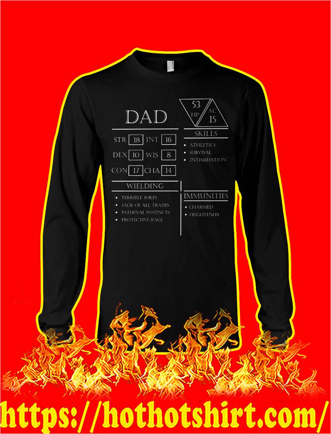 Dad character sheet dungeons and dragons longsleeve tee