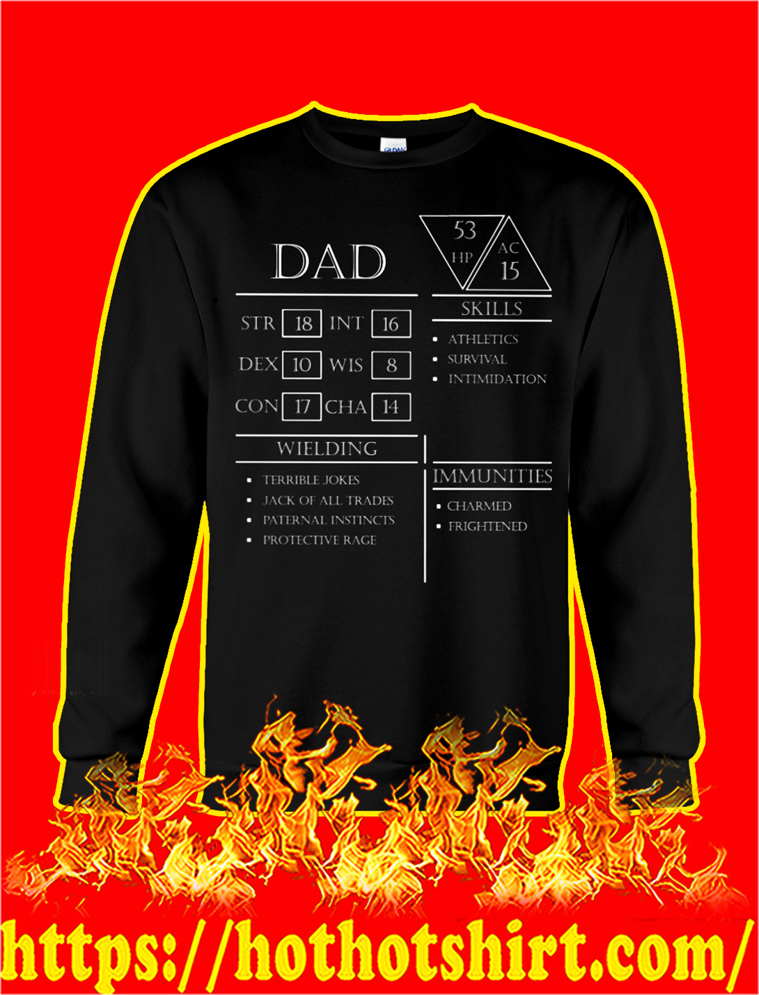 Dad character sheet dungeons and dragons sweatshirt