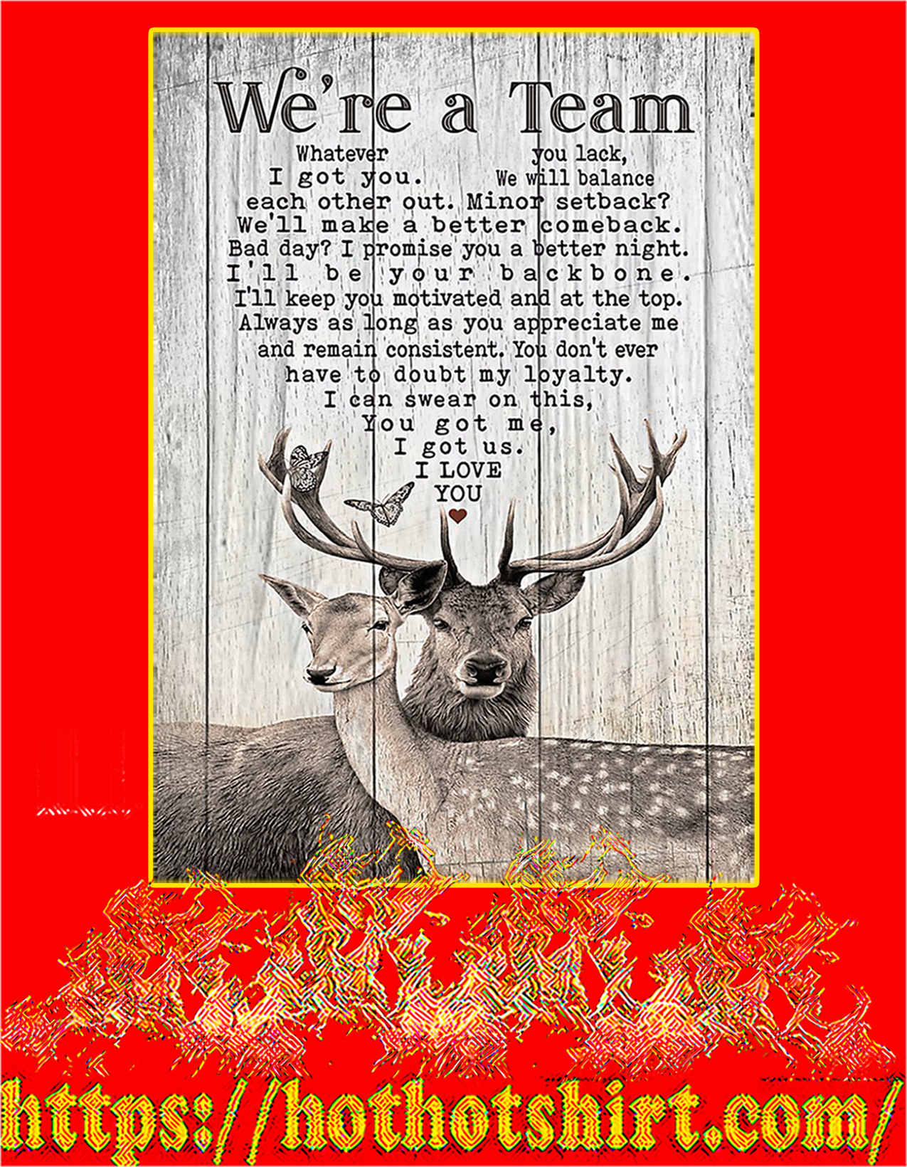 Deer Hunting We're a team poster - A2