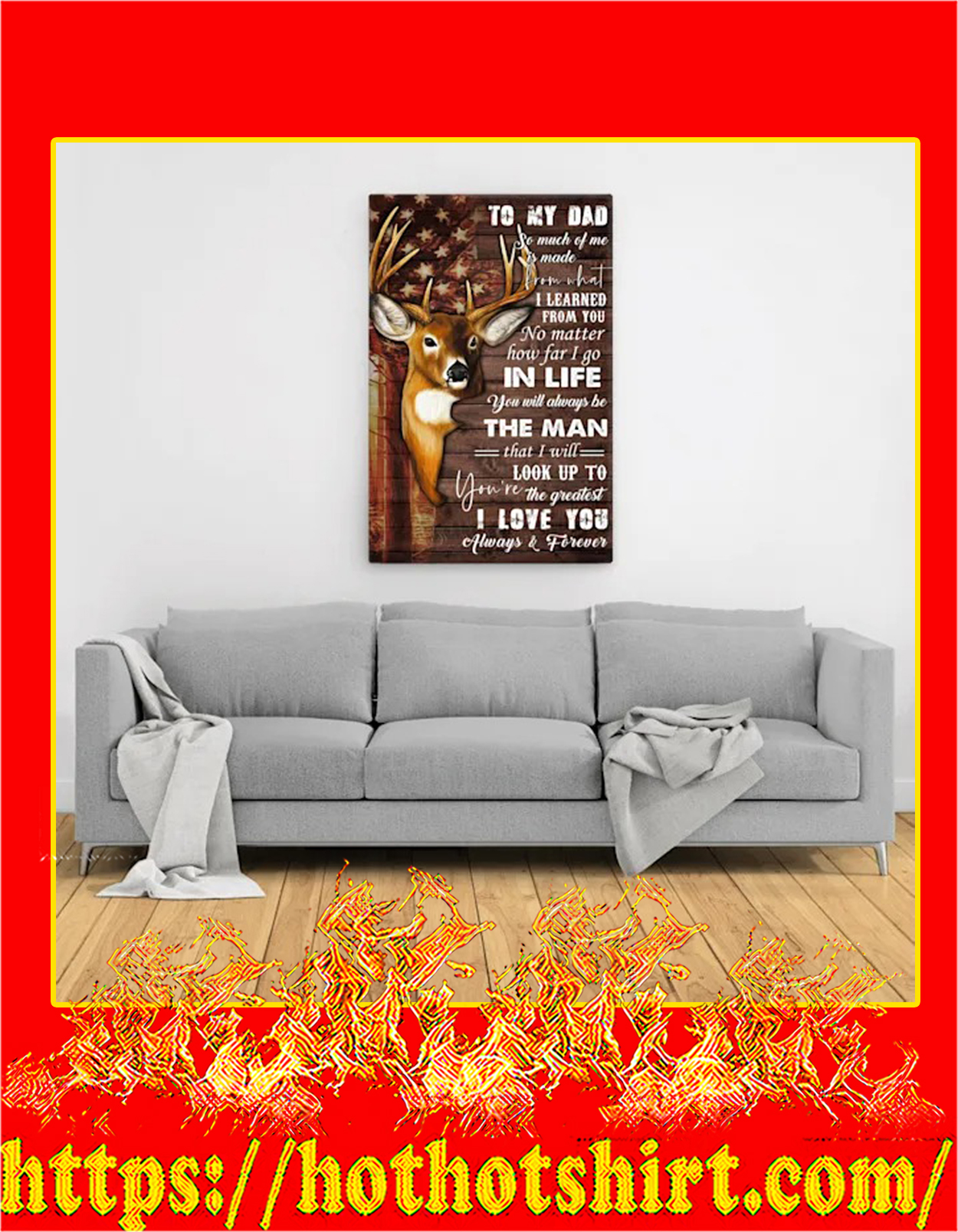 Deer To my dad canvas prints - Large