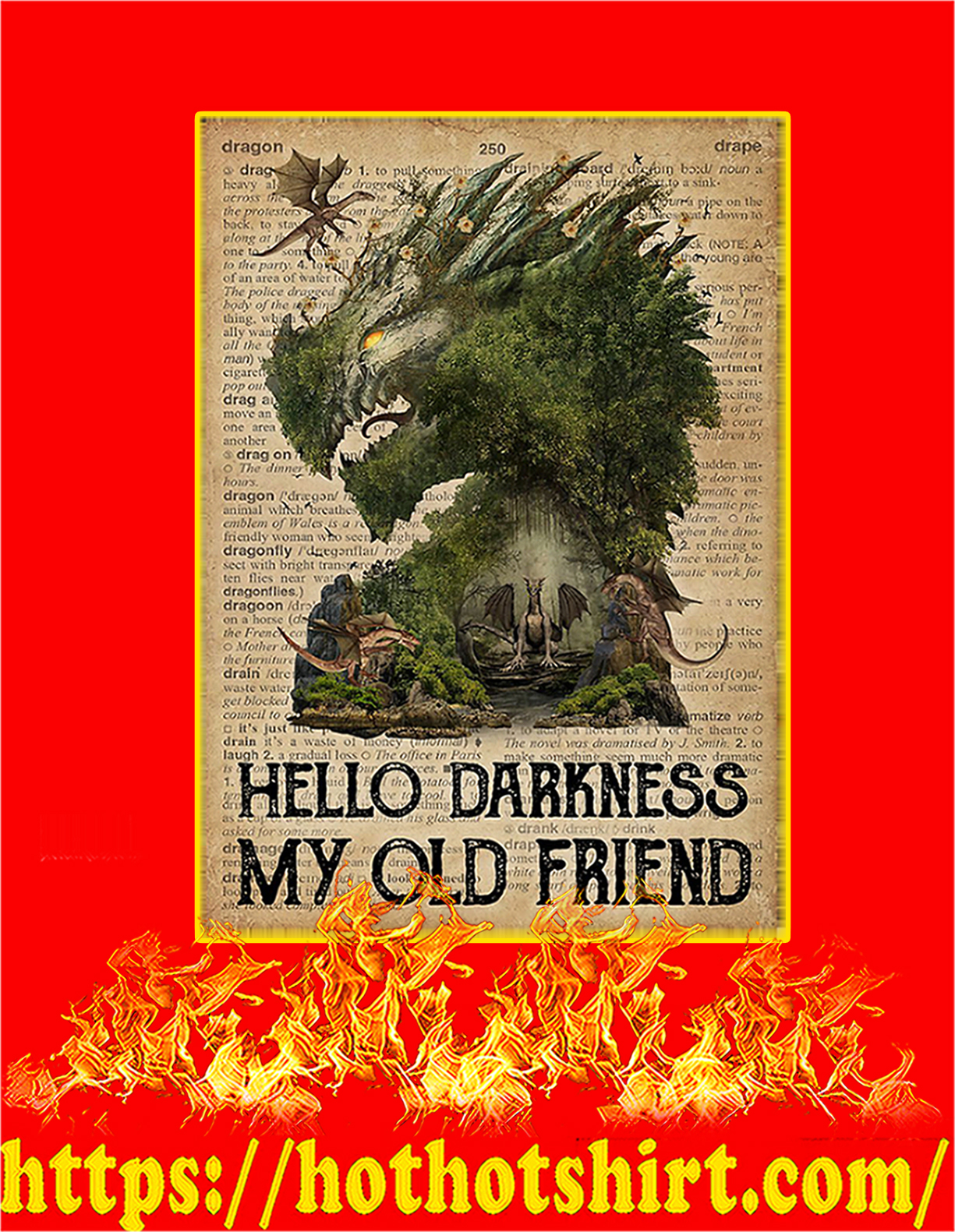 Dictionary dragon hello darkness my old friend poster - A4