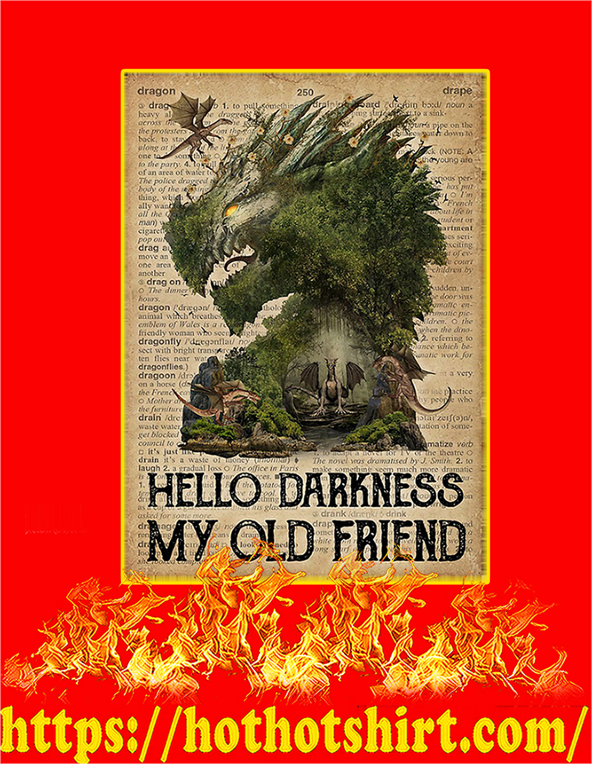 Dictionary dragon hello darkness my old friend poster