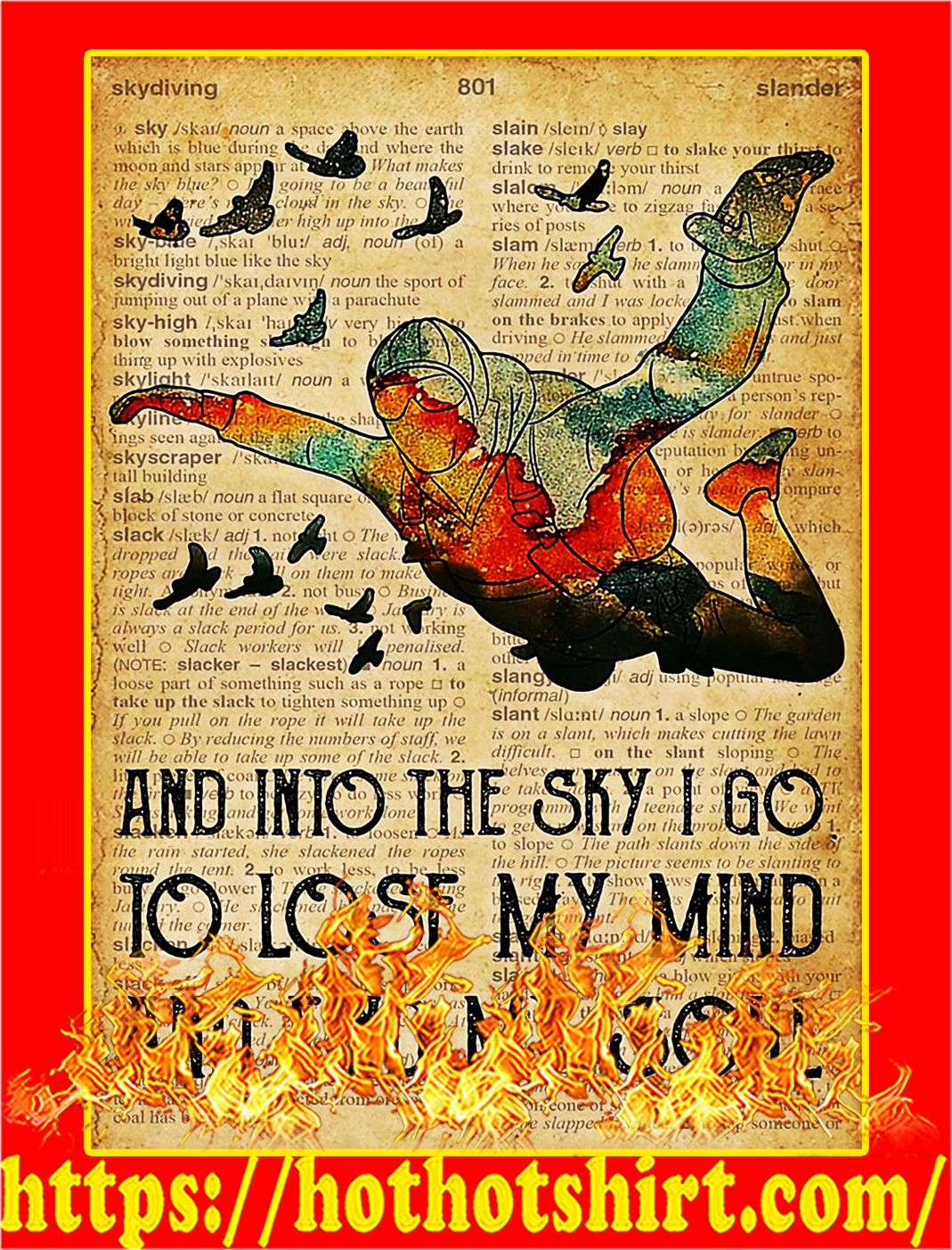 Dictionary skydiving and into the sky poster - A3