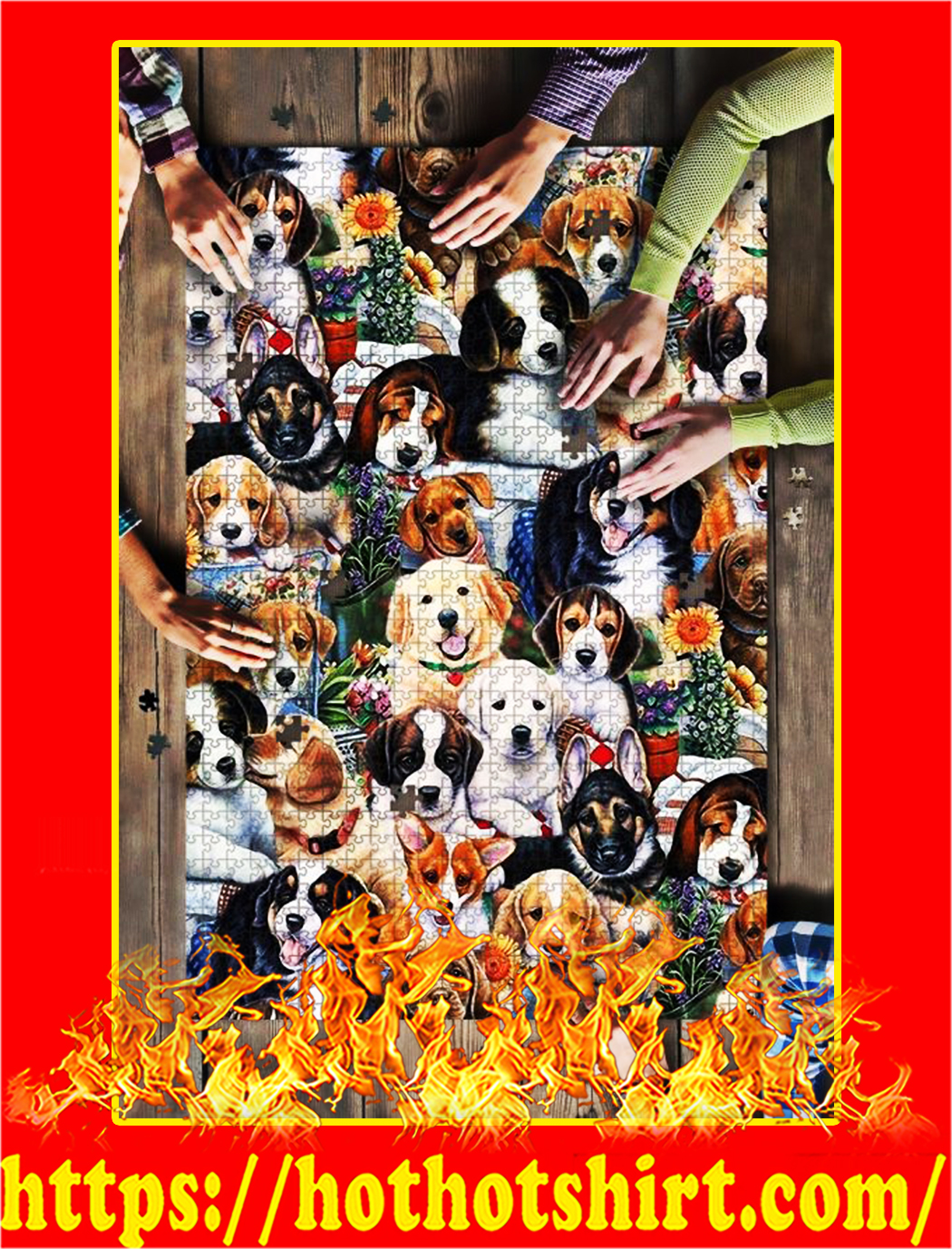 Dog Breeds Garden Jigsaw Puzzle - 1000 pieces