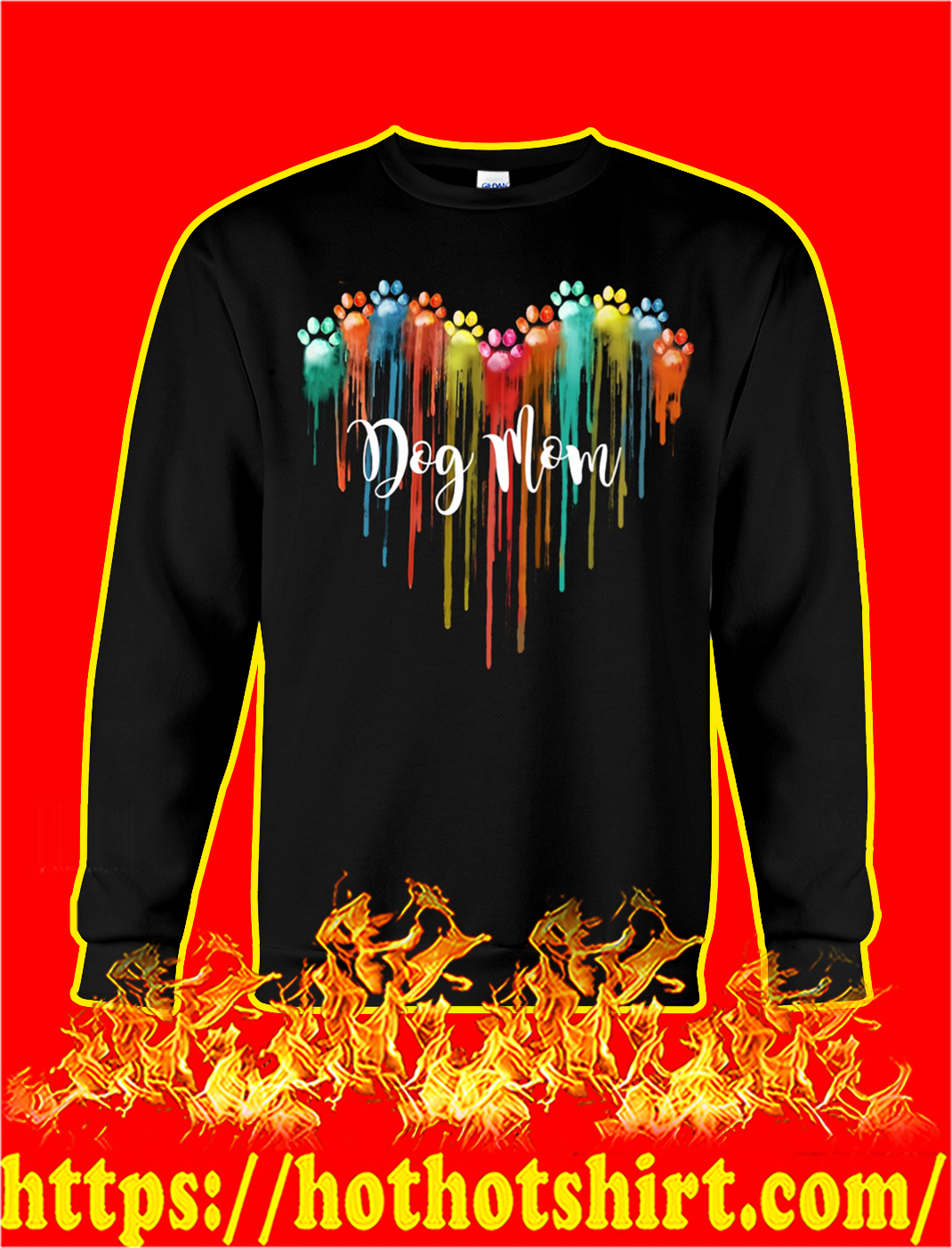 Dog mom dog paw heart sweatshirt