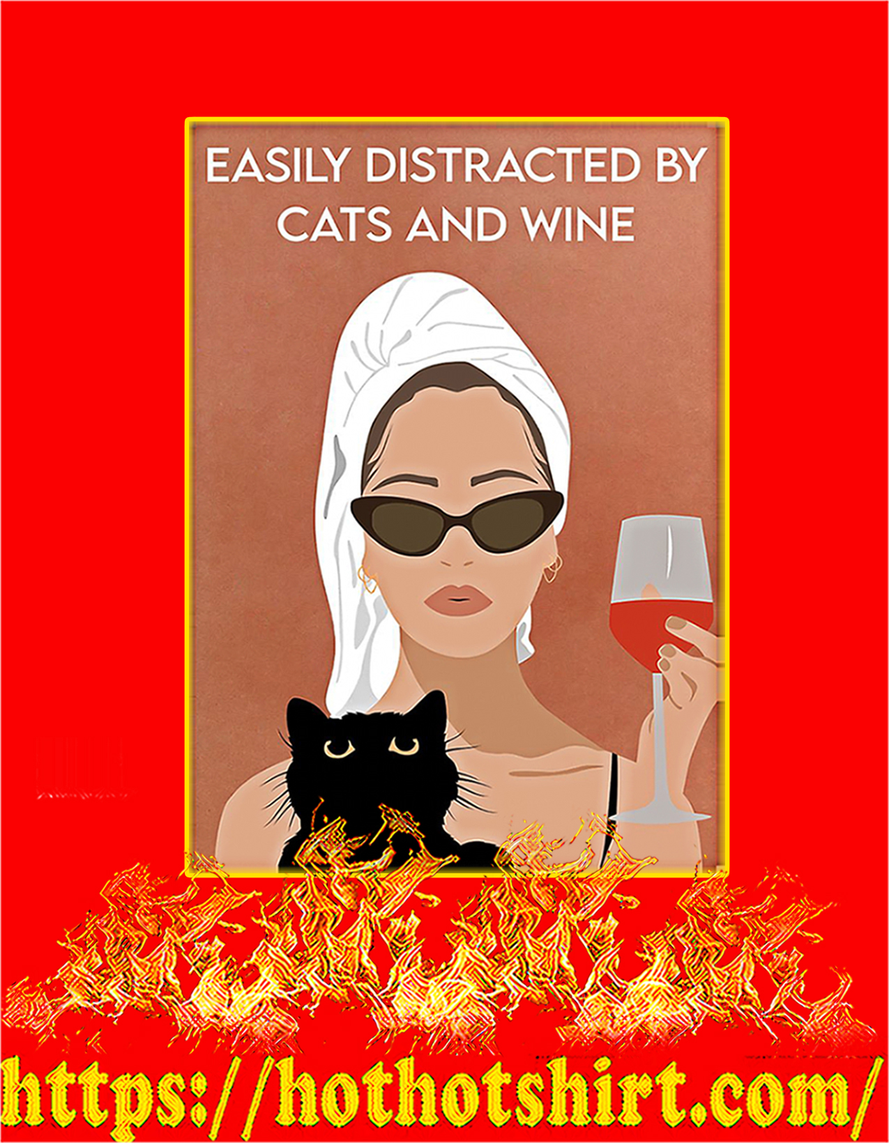 Easily distracted by cats and wine poster - A2