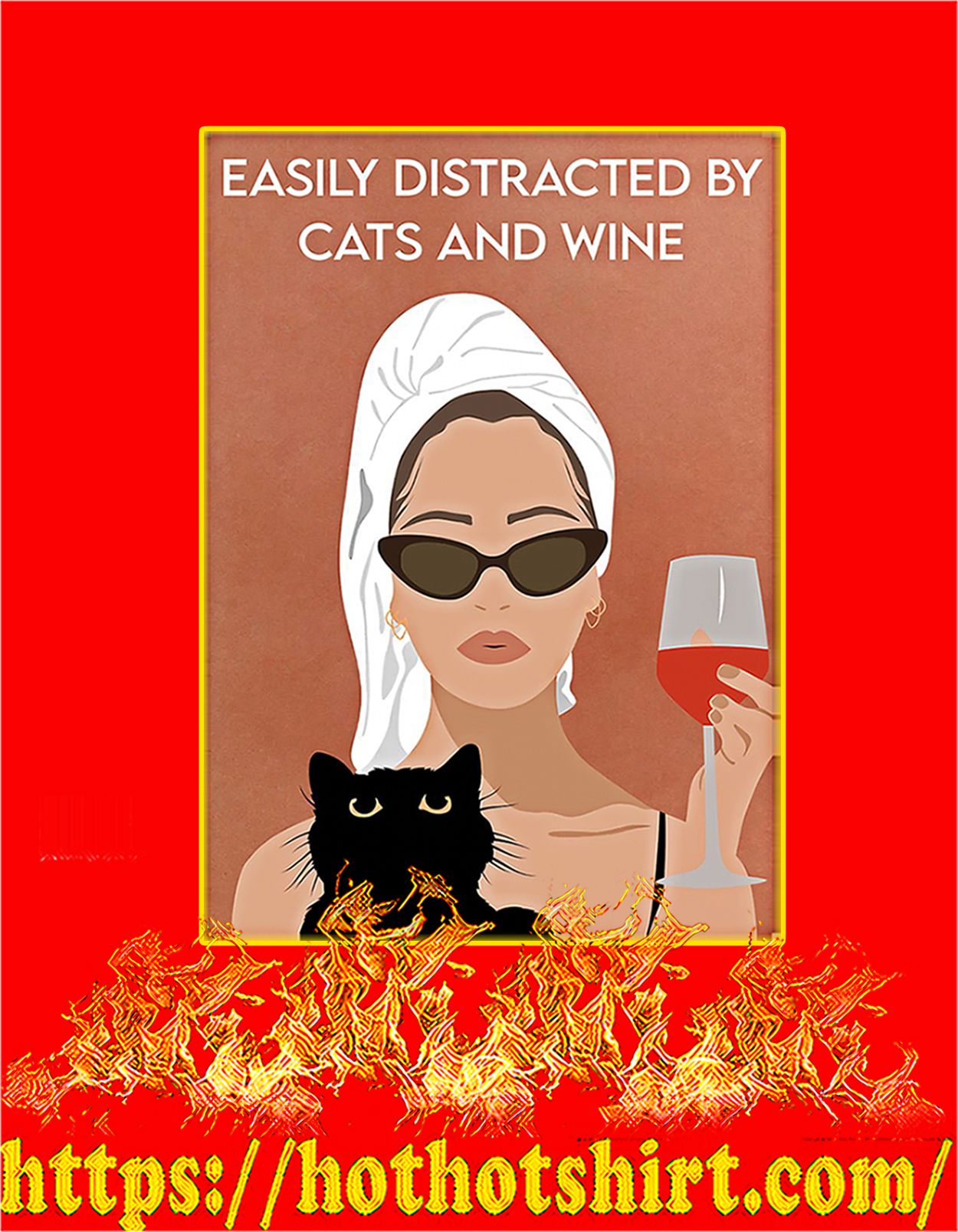 Easily distracted by cats and wine poster - A3