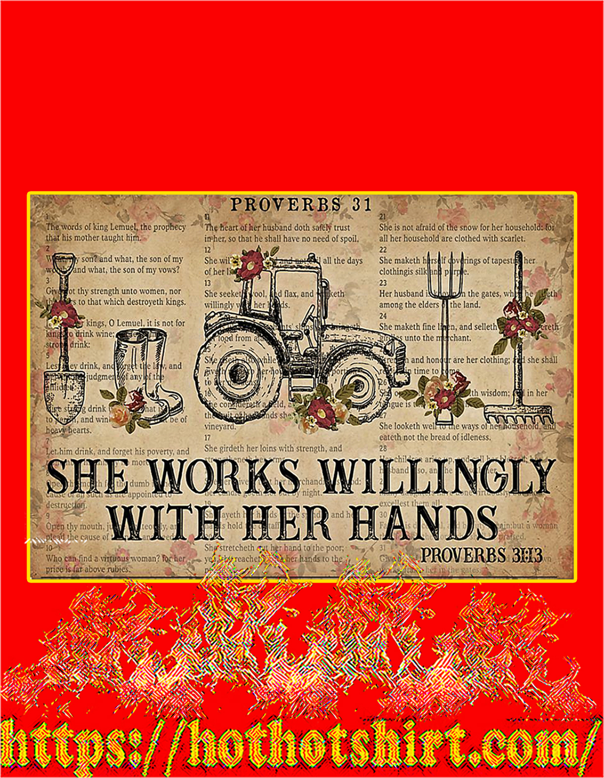 Farmer She works willingly with her hands poster - A4