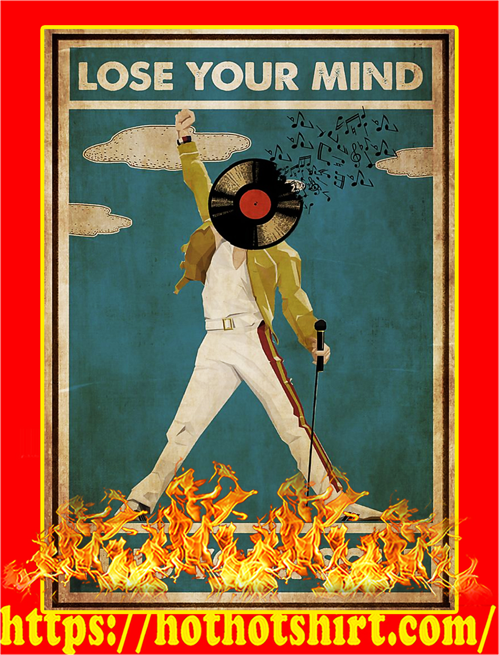Freddie Mercury lose your mind find your soul poster - A4