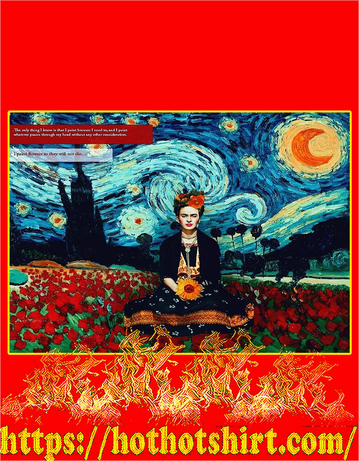 Frida kahlo flower starry night poster - A3