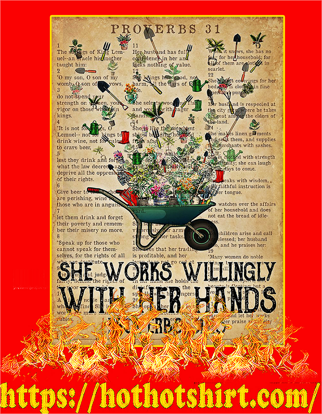 Garden She works willingly with her hands poster - A2