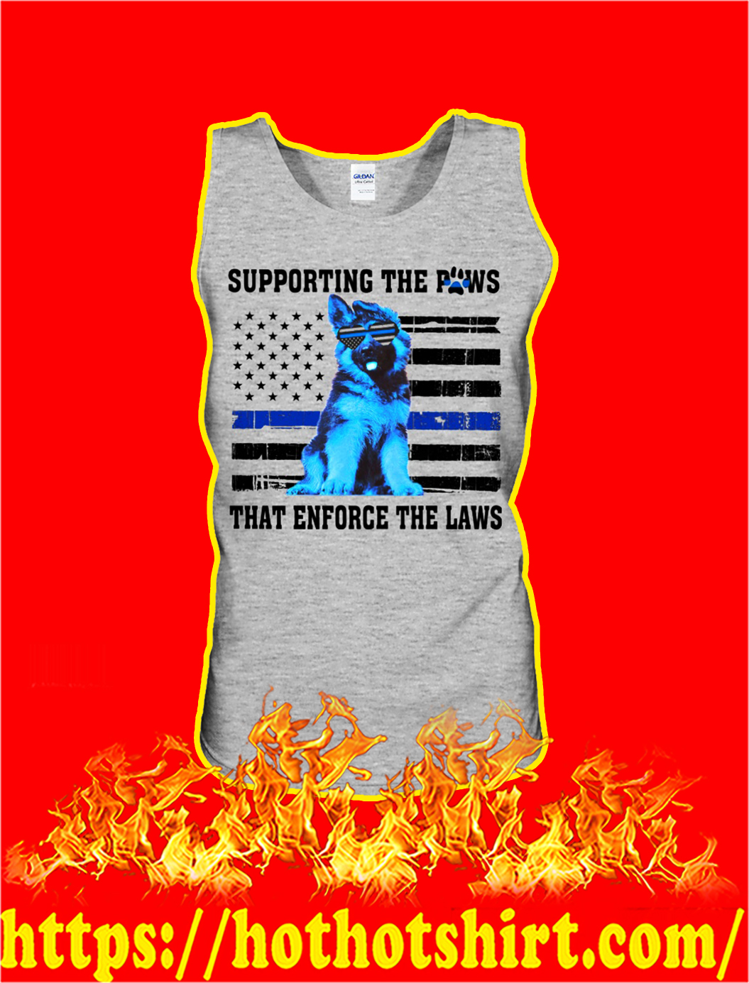 German shepherd blue line supporting the paws that enforce the laws tank top