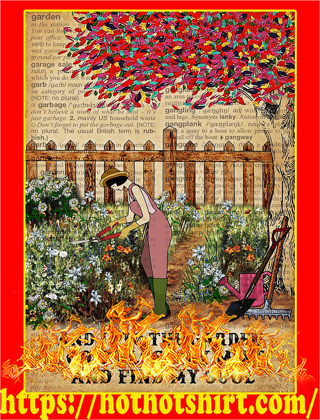 Girl And into the garden I go to lose my mind and find my soul poster - A2