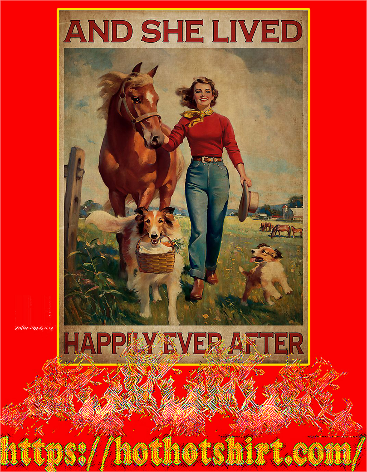 Girl with horse and dog lived happily ever after poster - A4
