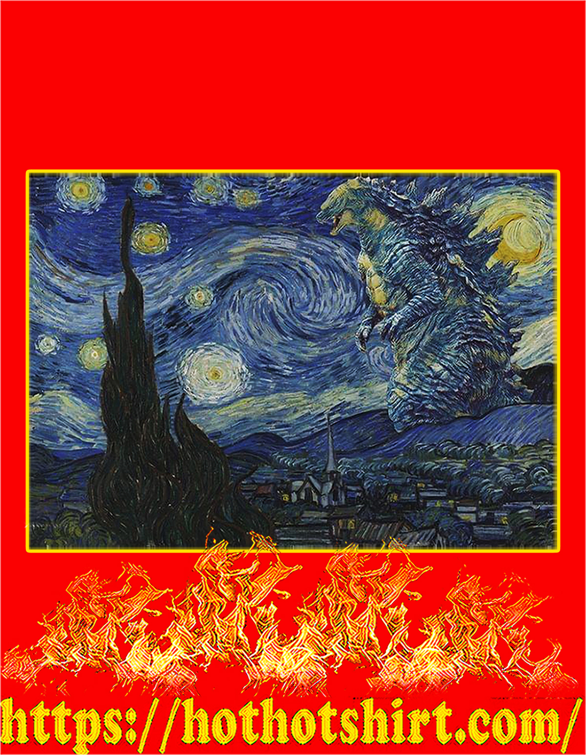 Godzzila starry night poster - A4