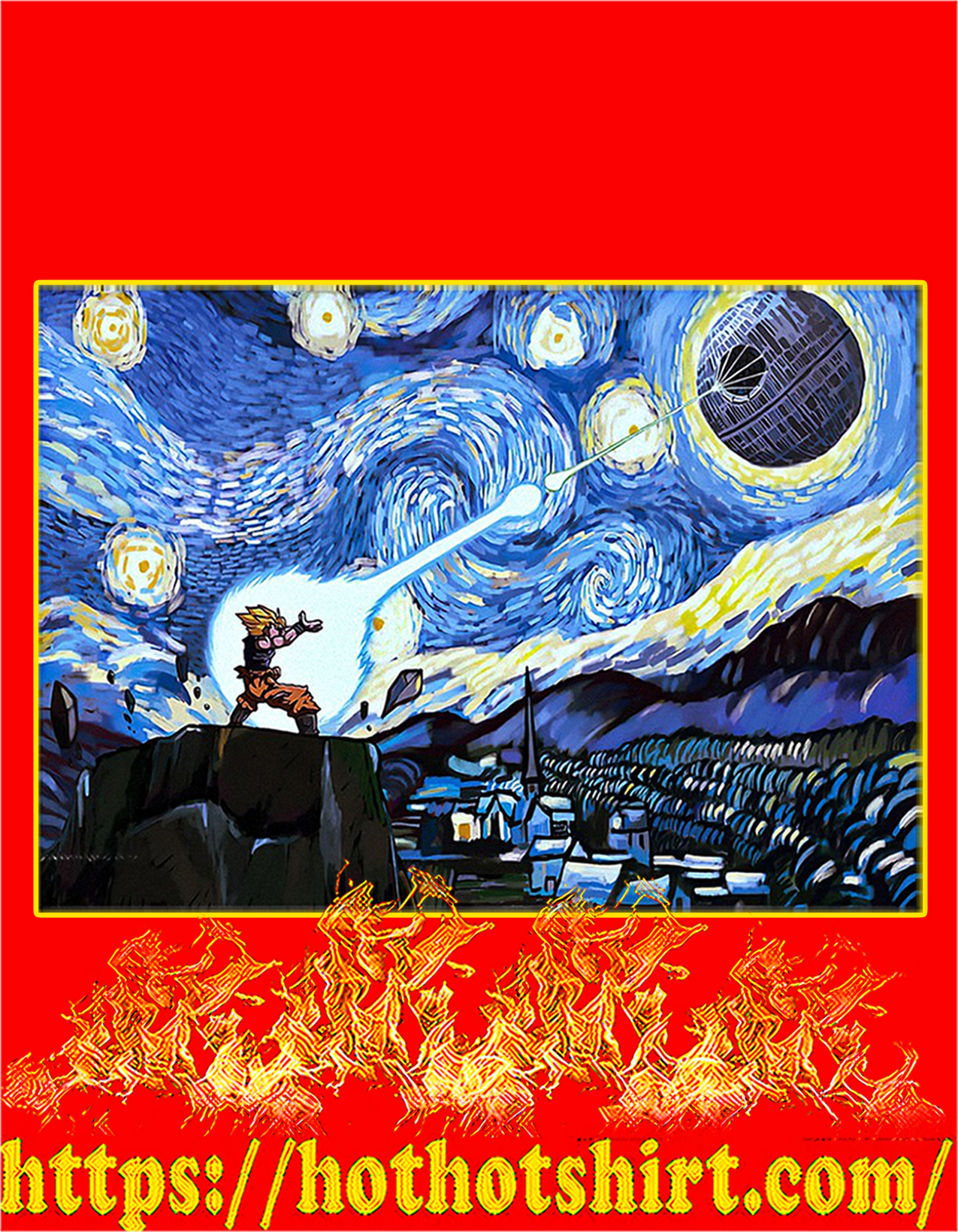 Goku vs Death Star starry night van gogh poster - A2