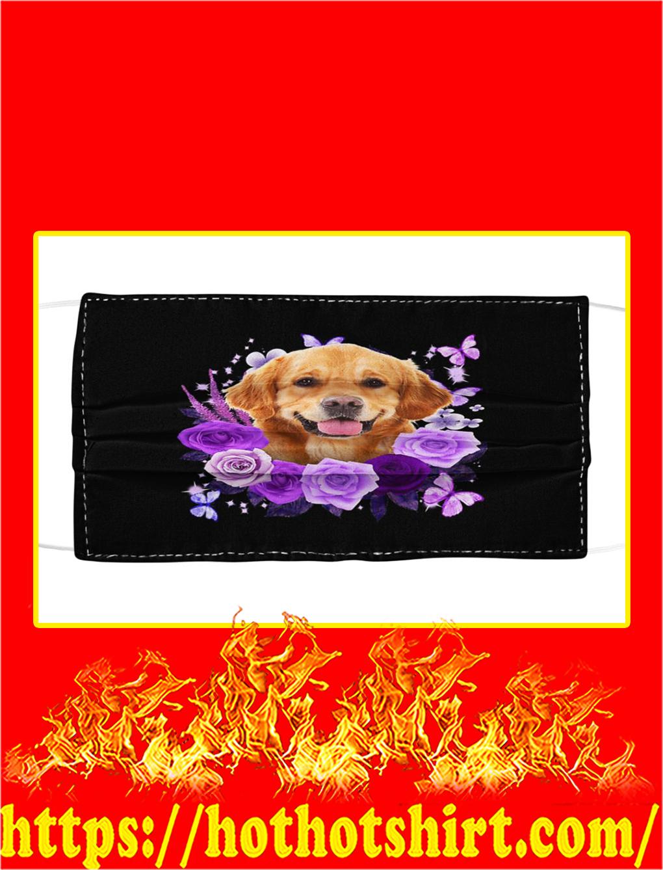 Golden retriever purple flower face mask- pic 1