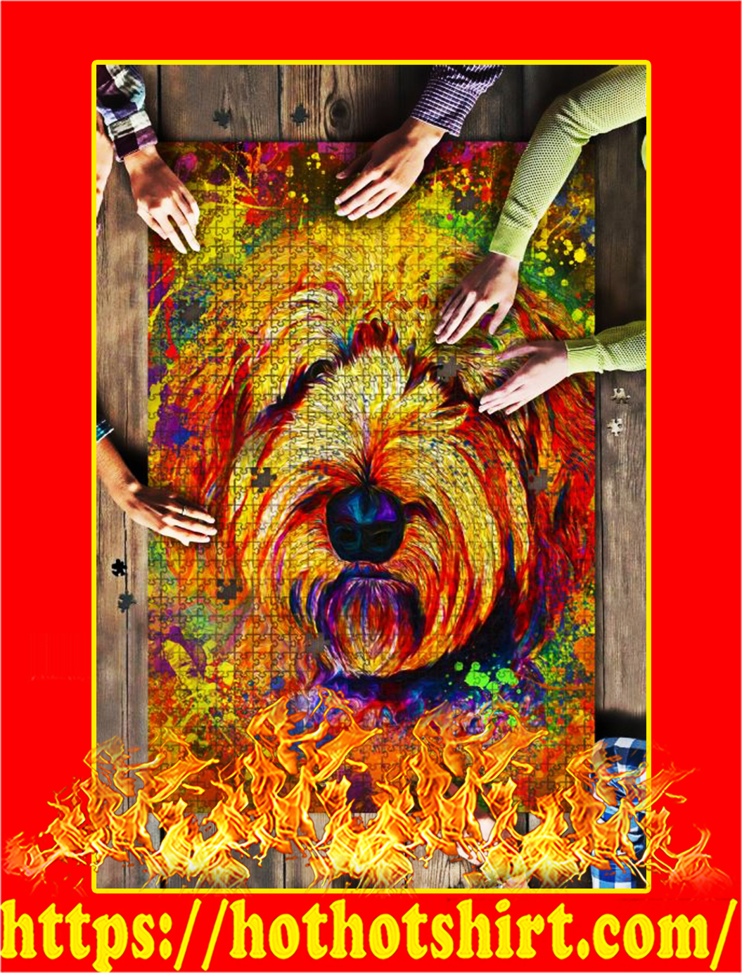 Goldendoodle Dog Colorful Jigsaw Puzzle - 1000 pieces