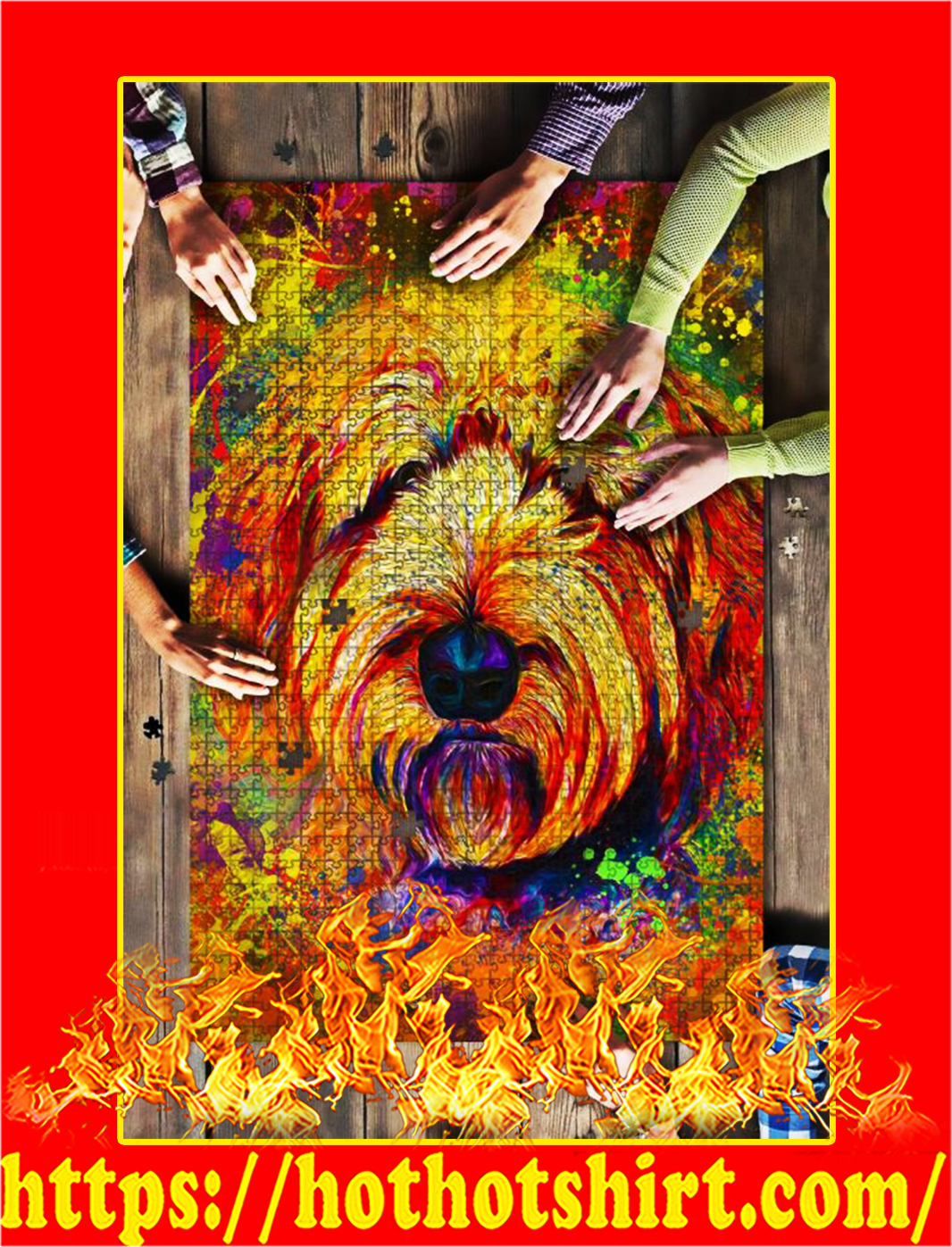Goldendoodle Dog Colorful Jigsaw Puzzle - 500 pieces