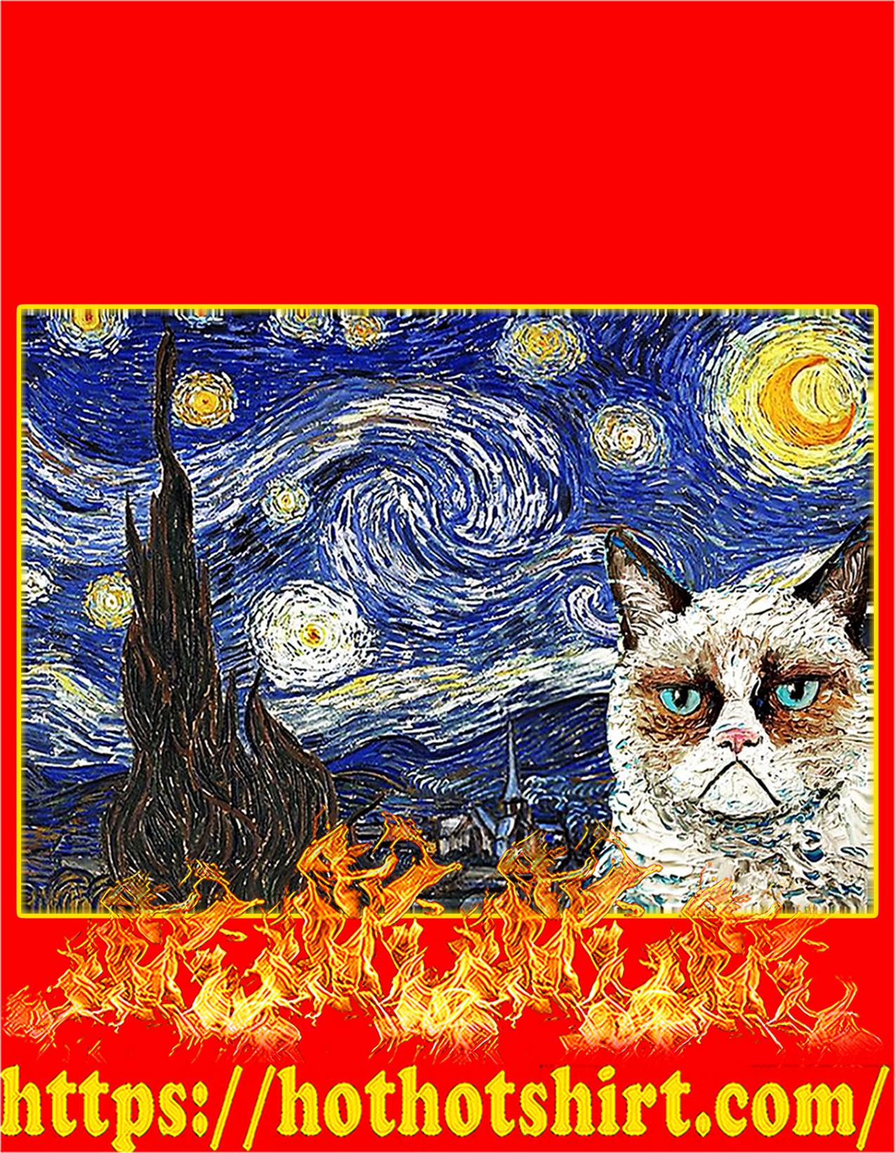 Grumpy cat starry night poster - A2