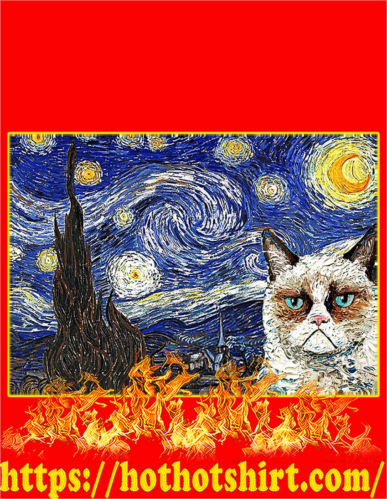 Grumpy cat starry night poster - A3
