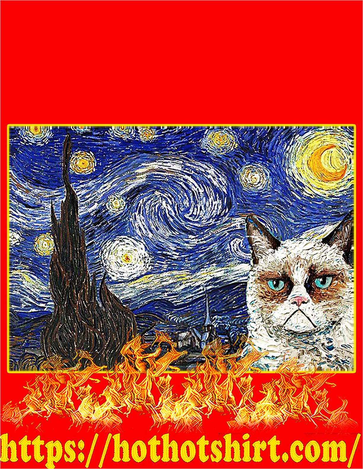 Grumpy cat starry night poster - A4
